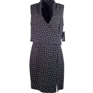 Jones New York Women Dress 16 Polka Dot Black Wrap